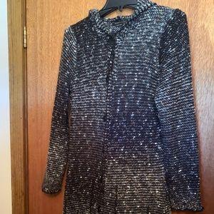 BCBGMaxAzria blacks/whites long sweater XL